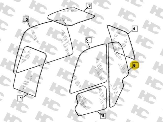 Szyba boczna, lewa strona maszyny - ładowarki teleskopowe JCB - 827/80213