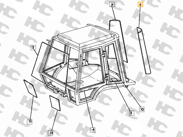 Szyba narożna - Lewa - JCB 3CX 4CX - Kabina P12 - Oryginał